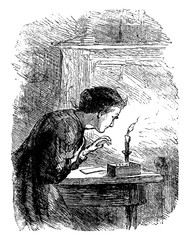 Woman Blowing Out Candle, vintage illustration