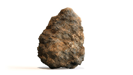 natural brown rock isolated with shadow on white background Wall mural