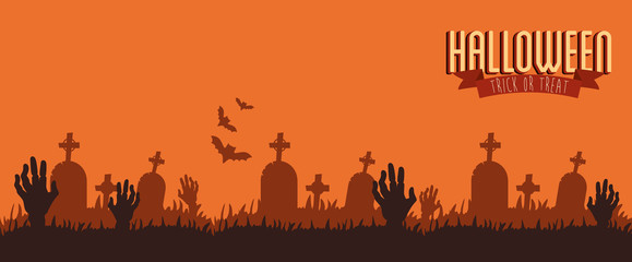 poster halloween with hands zombie in cemetery vector illustration design
