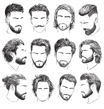 Highly detailed, hand drawn men's hairstyles, beards and mustaches vector set.