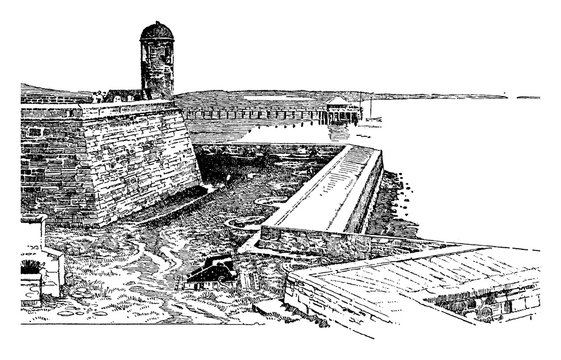 Spanish Fort in St. Augustine, Florida,Vintage illustration.
