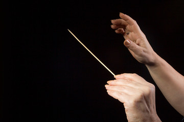 Hands of an orchestra conductor