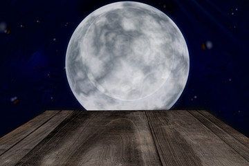 Halloween background. wooden table. and Full moon night.