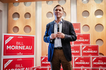 Bill Morneau, Canada's Finance Minister and Liberal Party candidate, addresses supporters after being re-elected in Toronto