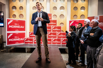Bill Morneau, Canada's Finance Minister and Liberal Party candidate for Parliament, addresses supporters after being re-elected
