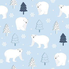 Christmas seamless pattern with polar bear background, Winter pattern with white bear, wrapping paper, pattern fills, winter greetings, web page background, Christmas and New Year greeting cards