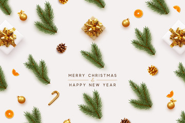Fototapete - Merry Christmas and Happy New Year. Xmas background with realistic festive decorative design elements. Pine and spruce branches, gift box, pine cone, orange, ball bauble. Flat lay, top view.