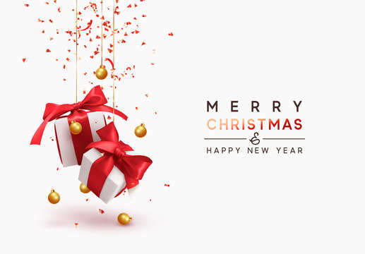 Merry Christmas and Happy New Year. Background with realistic festive gifts box. Xmas present. white with red ribbon gift surprise, Golden Christmas baubles, balls, glitter gold confetti.