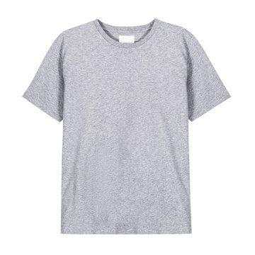 Men's Heather Gray T Shirt Isolated on White Background. Mens White Short Sleeves Tshirt Clothing. Unisex Short Sleeve T-shirt Jersey Apparel. Modern Garment Front View