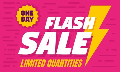 One day flash sale concept banner. Flat illustration of one day flash sale vector concept banner for web design