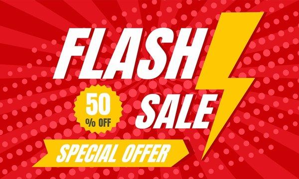 Special offer flash sale concept banner. Flat illustration of special offer flash sale vector concept banner for web design