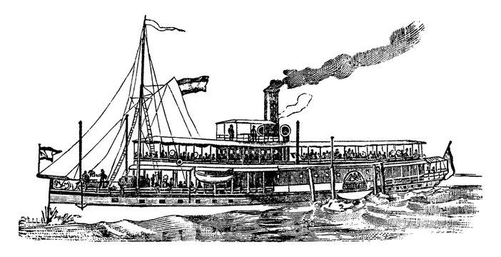 Steam Boat, vintage illustration.