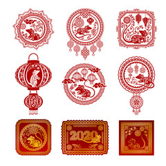 Set of red pictures in the Chinese style with the symbols of the New Year. Vector illustration.