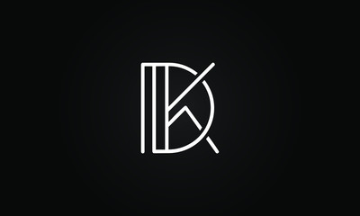 DK OR KD initial based letter icon logo Unique modern creative elegant geometric fashion brands black and white color