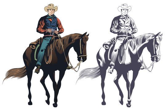 Stock illustration. Cowboy at horse.