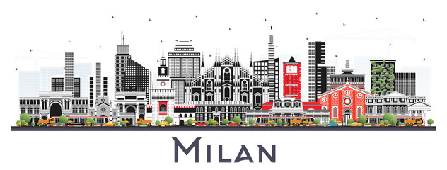 Fototapete - Milan Italy City Skyline with Color Buildings Isolated on White.