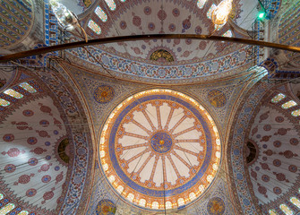 Decorated ceiling at Sultan Ahmed Mosque - Blue Mosque - showing the main big dome, Istanbul, Turkey