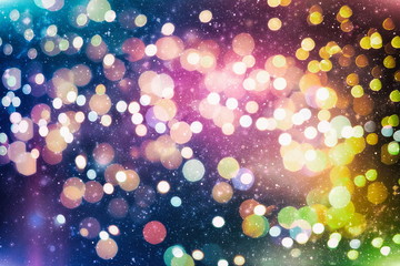 Christmas light background. Holiday glowing backdrop. Defocused Background With Blinking Stars....
