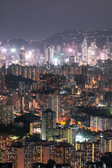 Fotomurales - Iconic view of cityscape of Hong Kong at night