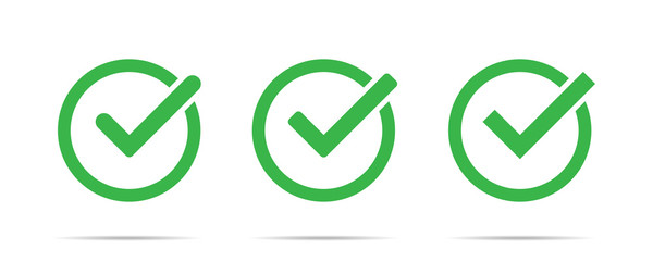 Green check mark icon set isolated vector elements. Tick approved symbol.