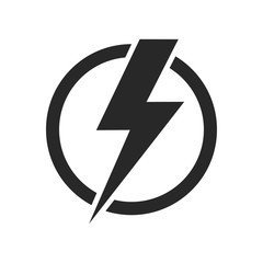 Lightning isolated vector icon. Electric bolt flash icon. Power energy symbol. Thunder icon. Circle concept.