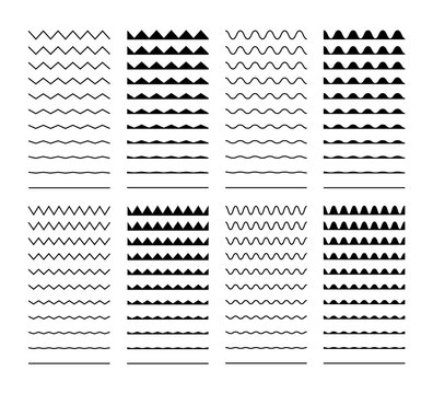 Wave set in abstract style on white background. Decoration element. Geometric design. Vector illustration ocean. Vector line design. Vector sound wave. Vector graphic set.