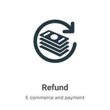 Refund vector icon on white background. Flat vector refund icon symbol sign from modern e commerce and payment collection for mobile concept and web apps design.