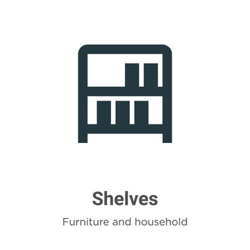Shelves vector icon on white background. Flat vector shelves icon symbol sign from modern furniture and household collection for mobile concept and web apps design.