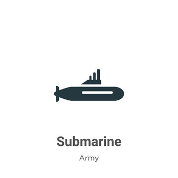 Submarine vector icon on white background. Flat vector submarine icon symbol sign from modern army collection for mobile concept and web apps design.