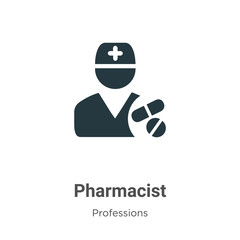 Pharmacist vector icon on white background. Flat vector pharmacist icon symbol sign from modern professions collection for mobile concept and web apps design.
