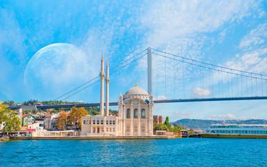 Ortakoy mosque and Bosphorus bridge  - Istanbul, Turkey Fototapete