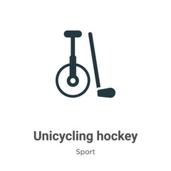 Unicycling hockey vector icon on white background. Flat vector unicycling hockey icon symbol sign from modern sport collection for mobile concept and web apps design.