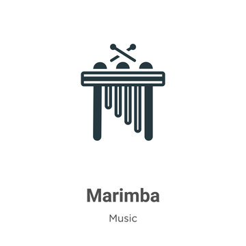 Marimba vector icon on white background. Flat vector marimba icon symbol sign from modern music collection for mobile concept and web apps design.
