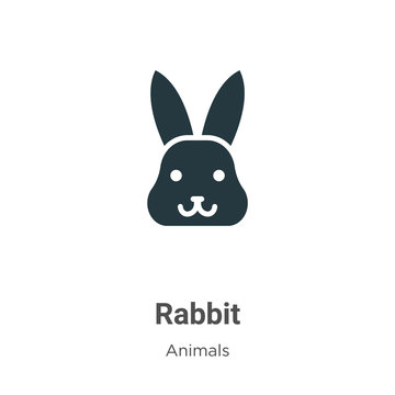 Rabbit vector icon on white background. Flat vector rabbit icon symbol sign from modern animals collection for mobile concept and web apps design.