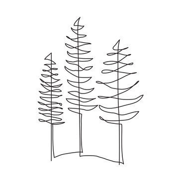 Pine tree one line drawing art. Abstract minimal style