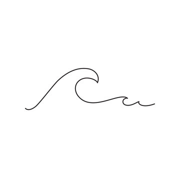Sea wave one line drawing art. Abstract minimal logo