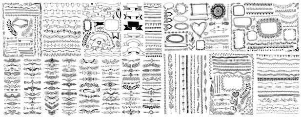 mega set of doodle sketch frame, line, corner and divider