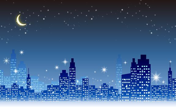 キラキラ輝く美しい夜景のイラスト素材・イルミネーション三日月