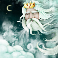 Fantasy concept illustration or poster with fairytale character King Wind.