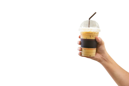 Man hand holding the iced coffee isolated on white background,clipping path
