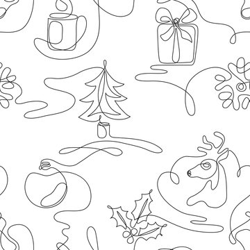 One line drawing Christmas seamless pattern with fir, gift box, reindeer, berries, cup of hot beverage, stocking, ball decoration, snowflake. Continuous line art minimalist winter background. Vector