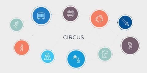 circus 10 stroke points round design. acrobat, acrobatics, aerialist, amusement park round concept icons..