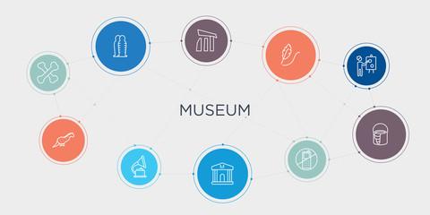 museum 10 stroke points round design. bone, dinosaur, gramophone, museum round concept icons..