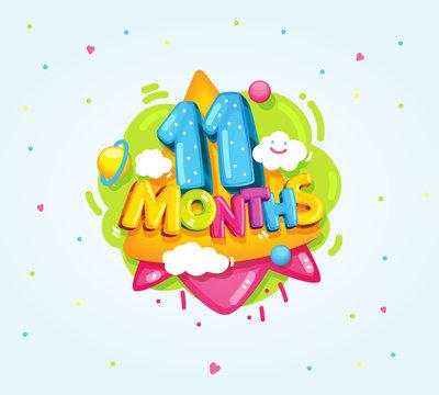 11 months baby symbol. kids cartoon vector illustration