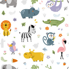Fototapete - African animals pattern for kids