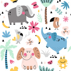 Tropical animals seamless pattern