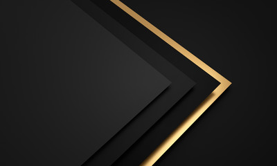 Mockup of black and dark gray and golden cards - 3D illustration