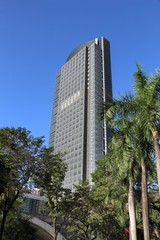 MANILA, PHILIPPINES - NOVEMBER 28, 2017: Ayala Tower One skyscraper in Makati City, Metro Manila, Philippines. The building is headquarters for Philippine Stock Exchange.