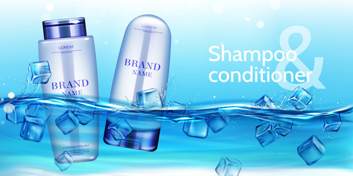 Shampoo and conditioner cosmetic bottles floating in water with ice cubes ads mockup background. Beauty cosmetics product for hair care, ad promo poster. Realistic 3d vector illustration, banner.