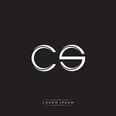 Fototapeta CS Initial Letter Split Lowercase Logo Modern Monogram Template Isolated on Black White obraz